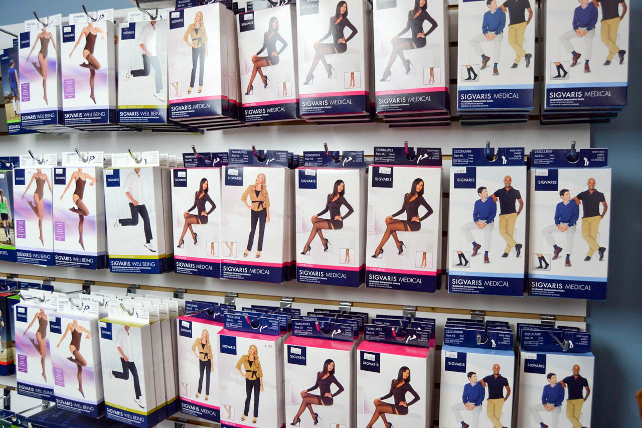 Sigvaris, Jobst high quality compression available at our stores in Mt Kisco NY and Southbury CT
