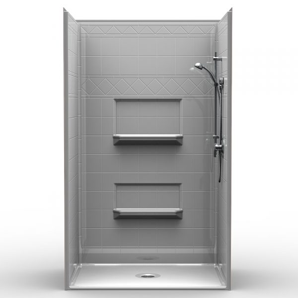 Multi-Piece Barrier Free 48″ x 34″ x 82″ Shower | Beveled Threshold