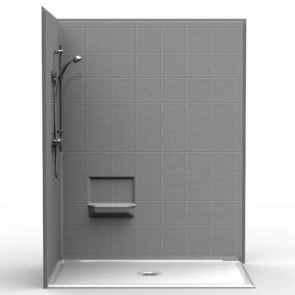 Multi-Piece Barrier Free 60″ x 36″ x 79 3/4″ Corner Shower | Beveled Threshold - On The Mend Medical Supplies & Equipment