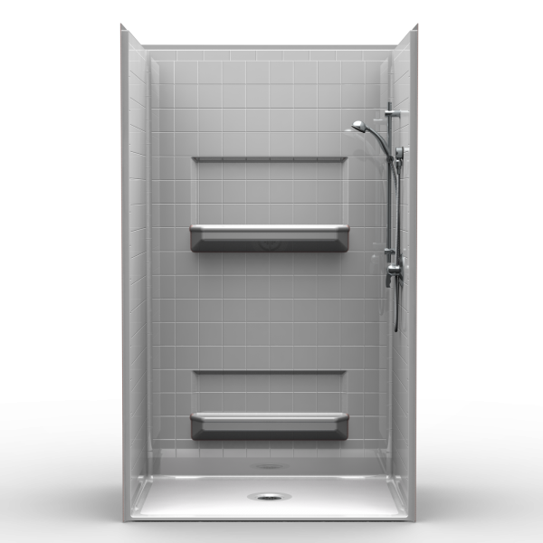 Multi Piece Barrier Free 48″ x 34″ Shower | Beveled Threshold - On The Mend Medical Supplies & Equipment
