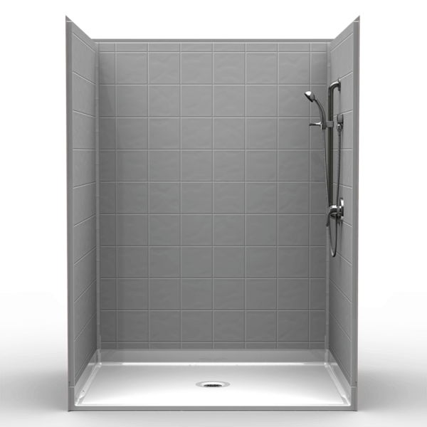 Multi-Piece Barrier Free 60″ x 48″ x 80 1/2″ Shower | Beveled Threshold - On The Mend Medical Supplies & Equipment