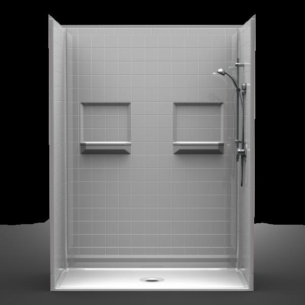 Multi-Piece Barrier Free 60″ x 30″ x 82″ Shower | Beveled Threshold
