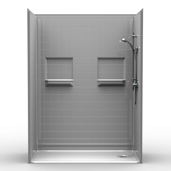 Multi-Piece Barrier Free 60″ x 30″ x 82″ Shower | Beveled Threshold - On The Mend Medical Supplies & Equipment