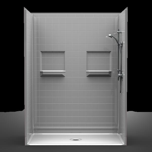 Multi-Piece Barrier Free 60″ x 32″ x 82″ Shower | Beveled Threshold
