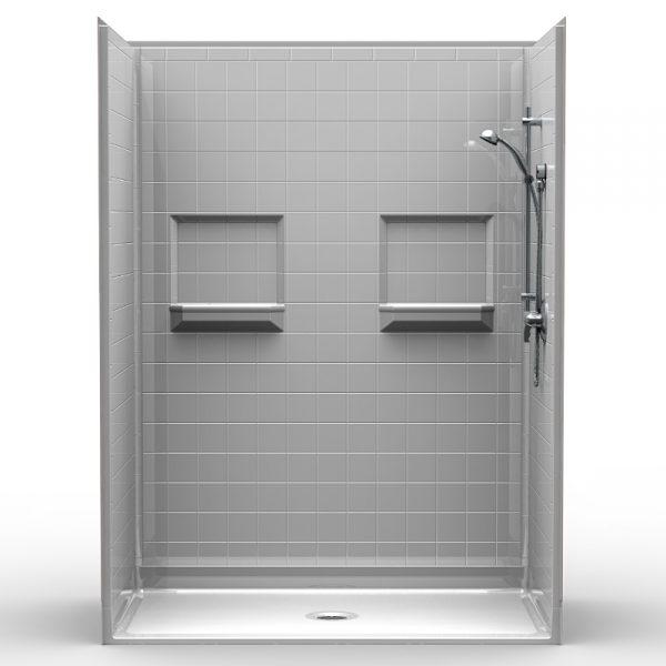Multi-Piece Barrier Free 60″ x 34″ x 80 1/4″ Shower | Beveled Threshold
