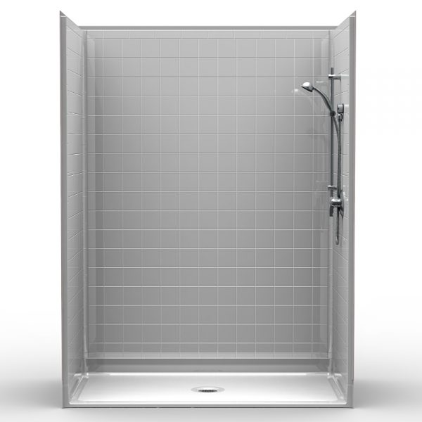 Multi-Piece Barrier Free 60″ x 34″ x 80 1/4″ Shower | Beveled Threshold - On The Mend Medical Supplies & Equipment