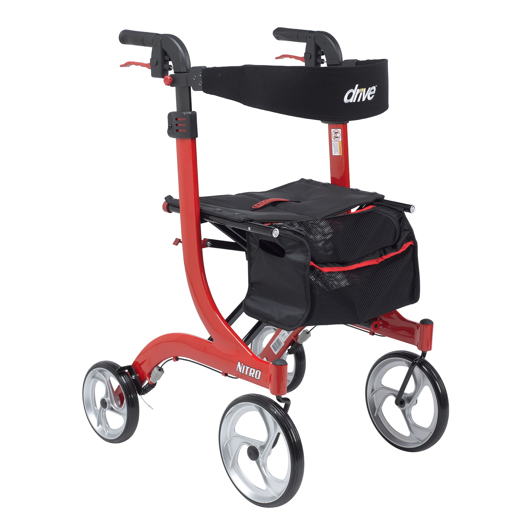 """Nitro Aluminum Rollator, Tall Height, 10"""" Casters - On The Mend Medical Supplies & Equipment"""