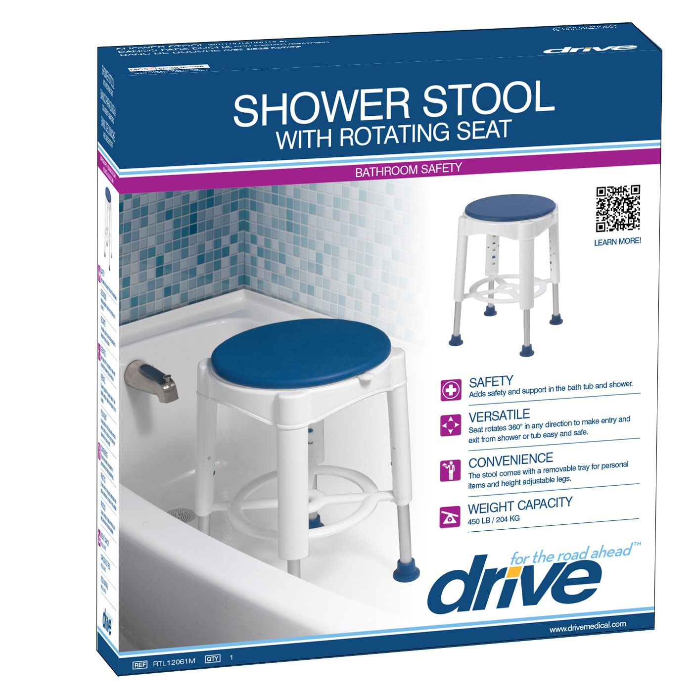 Drive Bath Stool With Rotating Seat On The Mend Medical
